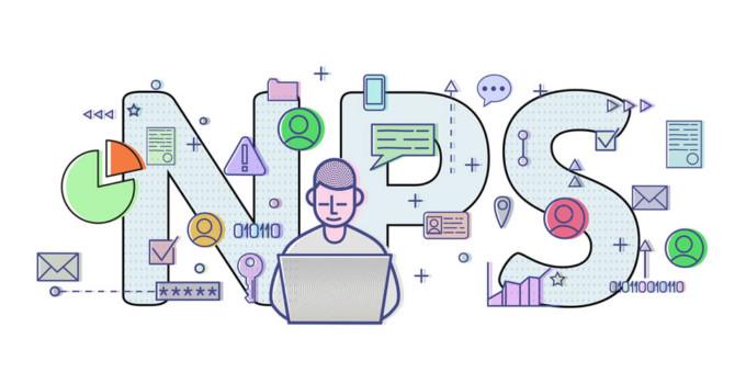 Imagem com uma mexendo no computador com NPS ao fundo, que diz respeito ao nível de satisfação dos clientes