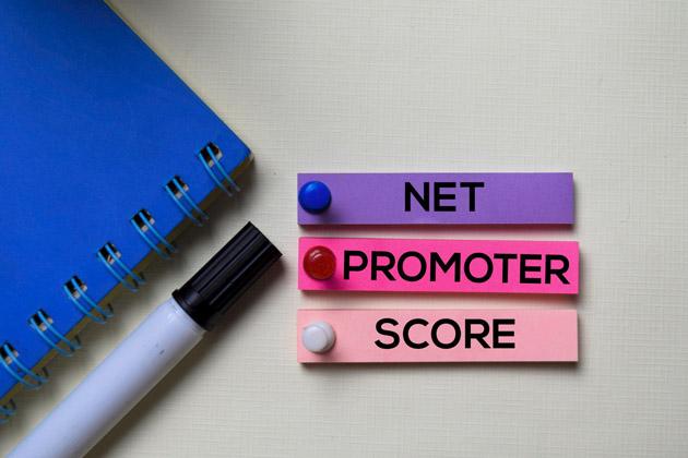 Três pequenos pedaços de papel, roxo, rosa escuro e rosa claro. sobre uma mesa com cada uma das palavras que fazem parte da sigla NPS